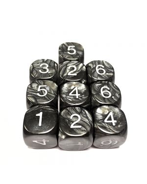 16mm Dice D6 rounded corner NUMBERED 1-6 PEARL Black  / White x10 small image