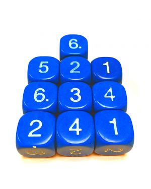 14mm Dice D6 rounded corner NUMBERED 1-6 Blue / White x10 small image