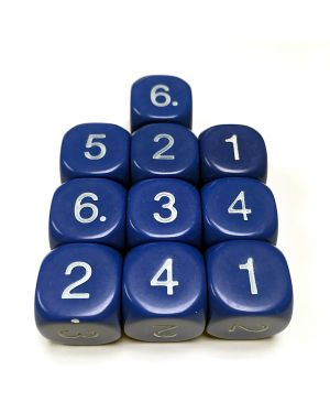16mm Dice D6 rounded corner NUMBERED 1-6 Dark Blue / White x10 small image