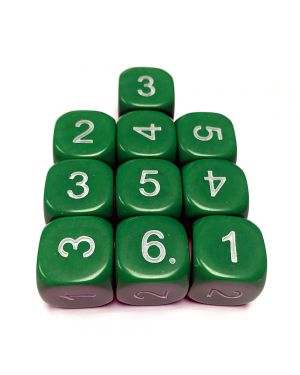 16mm Dice D6 rounded corner NUMBERED 1-6 Green / White x10 small image