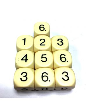 16mm Dice D6 rounded corner NUMBERED 1-6 Ivory  / Black x10 small image