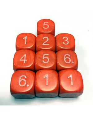 14mm Dice D6 rounded corner NUMBERED 1-6 Orange / White x10 small image
