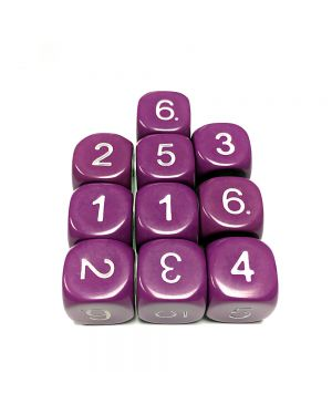 16mm Dice D6 rounded corner NUMBERED 1-6 Purple / White x10 small image