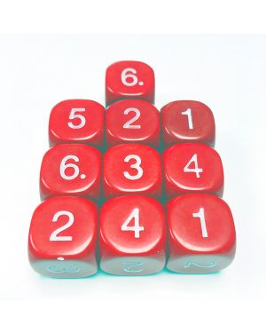 16mm Dice D6 rounded corner NUMBERED 1-6 Red / White x10 small image