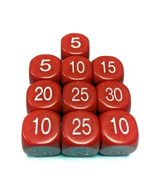 16mm Dice D6 rounded corner 5/10/15/20/25/30 - Red  / White x10 small image